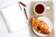 Croissant cup coffee white  table Stock Image