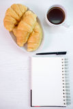 Croissant cup coffee white  table top view Royalty Free Stock Image