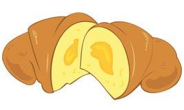 Croissant with custard cream. Illustration of a Croissant with custard cream stock illustration