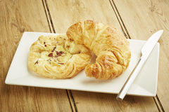 Croissant and custard crown Royalty Free Stock Image