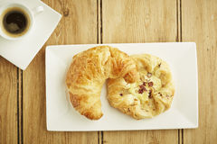 Croissant and custard crown Royalty Free Stock Photography