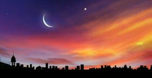 Croissant de lune avec des étoiles Image libre de droits