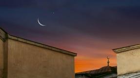 Croissant de lune avec des étoiles Photo stock