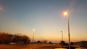 Croissant de lune crépusculaire Photos stock