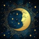 Croissant de lune et étoiles dans tiré par la main schéma et dotwork style antique Tatouage chic de Boho, affiche, voile d'autel, Image stock