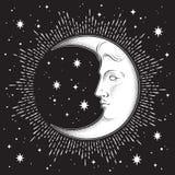 Croissant de lune et étoiles dans tiré par la main schéma et dotwork style antique Tatouage chic de Boho, affiche, voile d'autel, Photographie stock libre de droits
