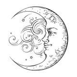 Croissant de lune tiré par la main d'art de style antique Vecteur chic de conception de tatouage de Boho illustration libre de droits
