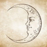 Croissant de lune tiré par la main d'art de style antique Vecteur chic de conception de tatouage de Boho Illustration Stock