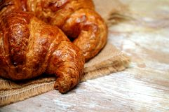 Croissant detailed pieces of bakery Stock Images