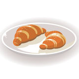 Croissant on the dish Royalty Free Stock Image
