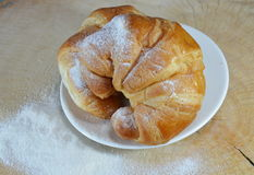 Croissant on the dish Royalty Free Stock Photo