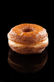Croissant and doughnut mixture isolated on black Stock Photo