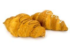 Croissant due isolato su bianco Immagini Stock