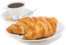 Croissant e caffè Fotografie Stock Libere da Diritti