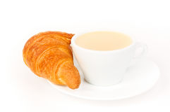 Croissant e caffè freschi Fotografia Stock