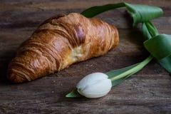 Croissant e tulipano Immagine Stock