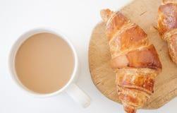 Croissant en koffie Stock Foto's