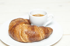Croissant and espresso Royalty Free Stock Photo