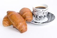 Croissant and espresso in white background Stock Image