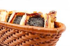 Croissant a fiocchi con il papavero Fotografie Stock Libere da Diritti