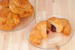 Croissant French brioche filled with berries jam Royalty Free Stock Images