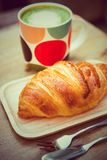 Croissant French toast is a popular place to eat Europeans. Stock Photo