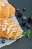 Croissant  with fresh berries Stock Photography