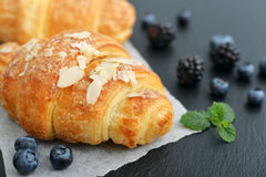 Croissant with fresh berries Stock Image