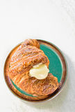 Croissant with fresh cream Royalty Free Stock Images