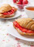 Croissant with fresh strawberries, ricotta Royalty Free Stock Photography