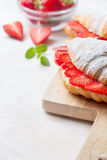 Croissant with fresh strawberries, ricotta Royalty Free Stock Images