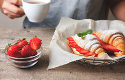 Croissant with fresh strawberries, ricotta Stock Image
