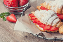 Croissant with fresh strawberries, ricotta Toning Stock Photos