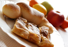 Croissant and fruit. Natural lighting Stock Image