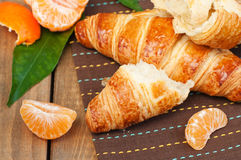 Croissant and fruits Stock Photo
