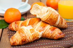 Croissant and fruits Royalty Free Stock Photos