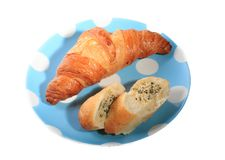 Croissant, garlic bread Royalty Free Stock Photo