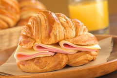 Croissant with Ham and Cheese Royalty Free Stock Photography
