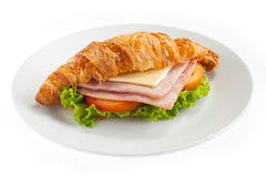 Croissant ham cheese Stock Photography