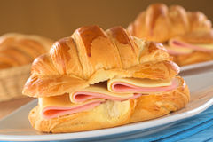 Croissant with Ham and Cheese Stock Photo