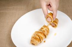 Croissant hotdog Royalty Free Stock Photo