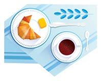 Croissant i filiżanka kawy ilustracja wektor