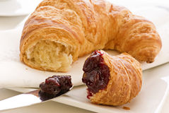Croissant with Jam Royalty Free Stock Photography