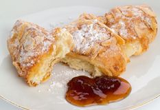 Croissant with jam Stock Photo