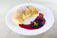 Croissant and jam Royalty Free Stock Photo