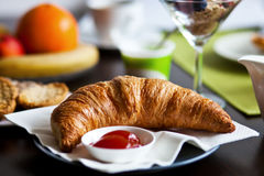Croissant with jam Royalty Free Stock Images