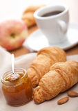 Croissant with jam for breakfast Royalty Free Stock Photos