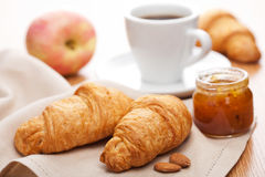 Croissant with jam for breakfast Royalty Free Stock Image