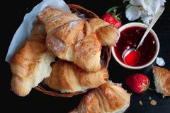 Croissant and jam for Breakfast Royalty Free Stock Photography
