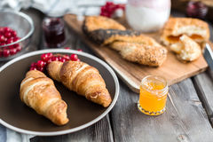 Croissant with jam Royalty Free Stock Image